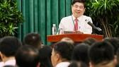 市人委會主席阮成鋒在會上發表講話。(圖源:黃雄)