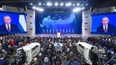 俄羅斯總統普京在莫斯科發表國情諮文。(圖源:AFP)