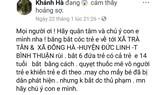 """Nội dung sai sự thật được đăng tải trên tài khoản facebook có tên """"Khánh Hà""""."""