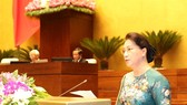 Chairwoman Nguyen Thi Kim Ngan makes closing remarks to wrap up the third plenary session of the 14th National Assembly in Hanoi yesterday. (Photo: VNA/VNS)