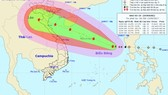 The path of Typhoon Doksuri in the East Sea on September 13 (Photo: national weather bureau)