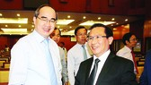 HCMC Party Chief Nguyen Thien Nhan (L) at the conference (Photo: SGGP)