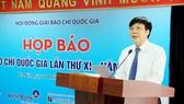 Ông Hồ Quang Lợi phát biểu tại buổi họp báo công bố Giải thưởng Giải báo chí Quốc gia