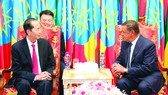 Chủ tịch nướcTrần Đại Quanghội đàm với Tổng thống Mulatu Teshome.  Ảnh: TTXVN