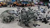 Nhân viên Cơ quan Quản lý Đô thị Bangkok (BMA) bắt bồ câu tại một quảng trường ở thủ đô Thái Lan ngày 26-9-2018. REUTERS