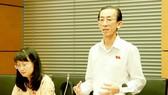 ĐB Trần Hoàng Ngân (TPHCM) phát biểu trong buổi thảo luận tại tổ về kinh tế - xã hội và ngân sách, sáng 22-5.  Ảnh: VIẾT CHUNG
