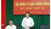 Chủ tịch Hội đồng Lý luận Trung ương Nguyễn Xuân Thắng phát biểu khai mạc kỳ họp. Ảnh: Phương Hoa/TTXVN