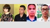 4 bị can: Châu Nguyên Anh, Phạm Quang Minh, Nguyễn Đình Chiến và Lê Anh Tuấn (từ trái sang)