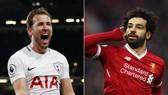 Harry Kane (trái) không cam chịu bỏ cuộc trước Mohamed Salah. Ảnh: theo Premier League