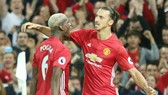 Paul Pogba và Zlatan Ibrahimovic trong màu áo Man.United. Ảnh: Getty Images
