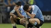 Luis Suarez (trái) thất vọng sau khi khiến Uruguay bị loại. Ảnh: Getty Images