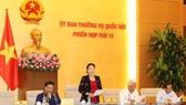 Chủ tịch Quốc hội Nguyễn Thị Kim Ngân chủ trì và phát biểu khai mạc Phiên họp thứ 12 của Ủy ban Thường vụ Quốc hội khóa XIV. Ảnh: TTXVN