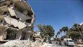 Cảnh đổ nát sau các cuộc xung đột ở thành phố Idlib, Syria ngày 25-8. Nguồn: TTXVN
