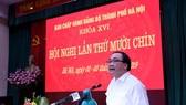 Bí thư Thành ủy Hoàng Trung Hải phát biểu kết luận hội nghị sáng 3-7. Ảnh: ANNINHTHUDO.VN