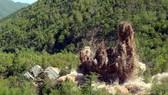 Triều Tiên tiến hành phá hủy một phần bãi thử hạt nhân Punggye-ri ngày 24-5-2018. Ảnh: YONHAP