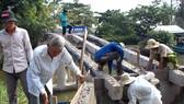 Người dân tình nguyện ở ấp Minh Kiên A đang cạy ván cốp pha,  đổ móng cầu Kênh 10
