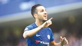 Cesc Fabregas mừng bàn thắng vào lưới Everton