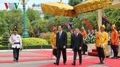 Chủ tịch nước Trần Đại Quang và Quốc vương Campuchia Norodom Sihamoni. Ảnh VOH