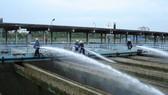 Công nhân Nhà máy nước Thủ Đức rửa bể lắng lọc
