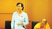 Đại biểu Nguyễn Thị Quyết Tâm (TPHCM) phát biểu tại phiên thảo luận tổ