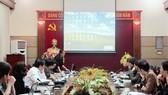Buổi họp về thí điểm thẻ BHYT điện tử. Ảnh: baohiemxahoi.gov