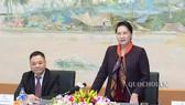 Chủ tịch Quốc hội Nguyễn Thị Kim Ngân phát biểu tại buổi gặp mặt. Ảnh: VGP