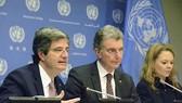 Từ trái sang: Đại sứ Pháp tại LHQ Francois Delattre và Đại sứ Đức tại LHQ Christoph Heusgen tại buổi họp báo ở trụ sở LHQ ngày 1-3. Nguồn: KYODO
