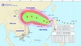 Sơ đồ dự báo hướng đi của bão số 11. Ảnh: Trung tâm Dự báo Khí tượng Thủy văn Trung ương
