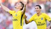 Thomas Meunier (trái) trở thành người hùng của Paris Saint Germain trong trận đấu với Dijon. Ảnh: Ligue 1
