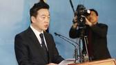 Chính trị gia Chung Bong-ju phát biểu trong cuộc họp báo tại Quốc hội Hàn Quốc ở Seoul ngày 27-3-2018. Ảnh: YONHAP