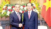 Chủ tịch nước Trần Đại Quang tiếp Ủy viên Quốc vụ, Bộ trưởng Bộ Ngoại giao Trung Quốc Vương Nghị. Ảnh: TTXVN