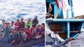 Một nhóm ngư dân được đưa vào bờ và tàu cá bị thiệt hại. Ảnh: Hải quân Philippines