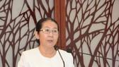 Đồng chí Võ Thị Dung, Phó Bí thư Thành ủy TPHCM phát biểu tại hội nghị. Ảnh: hcmcpv