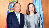 Prime Minister Nguyen Xuan Phuc (L) and President of the UN General Assembly Maria Fernanda Espinosa Garces (Source: VNA)