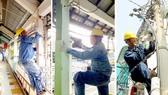 Công nhân trẻ ngành điện thay thế, sửa chữa thiết bị điện tại các tuyến hẻm, nhà dân, trường học