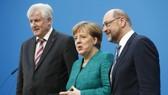Lãnh đạo đảng ba đảng lớn của Đức phát biểu sau cuộc đàm phán cuối cùng ngày 7-2. Nguồn: REUTERS