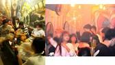 Các bạn trẻ vô tư hít bóng cười tại bar DRAMA và LEO coffee. Ảnh: QUANG HUY