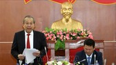 Phó Thủ tướng Thường trực Chính phủ Trương Hòa Bình phát biểu tại buổi làm việc. Ảnh: TTXVN