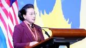 Chủ tịch Quốc hội Nguyễn Thị Kim Ngân phát biểu tại Đại hội đồng AIPA 40. Ảnh: TTXVN
