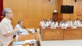 Đồng chí Trần Quốc Vượng, Thường trực Ban Bí thư phát biểu tại buổi làm việc với Ban Thường vụ Thành ủy TPHCM, sáng 4-5-2019. Ảnh: VIỆT DŨNG