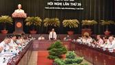 Bí thư Thành ủy TPHCM Nguyễn Thiện Nhân Phát biểu tại Hội nghị lần thứ 30 Ban Chấp hành Đảng bộ TPHCM khóa X. Ảnh: VIỆT DŨNG