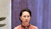 Chủ tịch Quốc hội Nguyễn Thị Kim Ngân phát biểu kết luận phiên chất vấn đối với Bộ trưởng Bộ KHĐT Nguyễn Chí Dũng