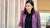 Chủ nhiệm Ủy ban Tư pháp Lê Thị Nga phát biểu tại cuộc họp