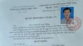 Truy nã nguyên Trưởng phòng Tài nguyên Môi Trường thị xã Dĩ An, tỉnh Bình Dương