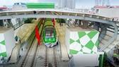 Đoàn tàu nằm trong ga La Khê thuộc Dự án đường sắt Cát Linh - Hà Đông