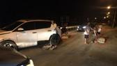 Hiện trường vụ xe đâm trụ bê tông tại đầu cầu Tri Lễ
