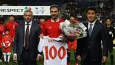 Ivanovic trong lần kỷ niệm 100 trận khoác áo tuyển Serbia