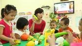 幼兒園教師正在上課。