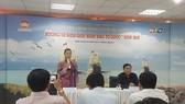 Phó Chủ tịch Ủy ban MTTQ Việt Nam TP Triệu Lệ Khánh phát biểu tại buổi họp báo