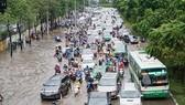 Chưa biết nguyên nhân gây ngập tại đường Nguyễn Hữu Cảnh